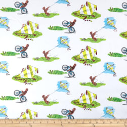Universal Curious George Cotton Flying Kites White Fabric