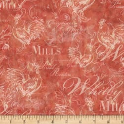 Susan Winget Rooster Script Swirls Poplin Red Fabric