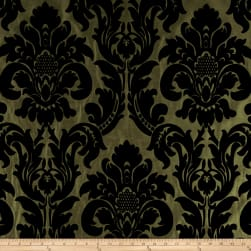 Flocked Velvet Dior Damask Olive Fabric