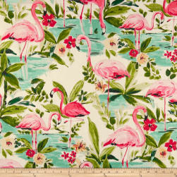 Waverly Floridian Flamingo Duck In Bloom Fabric