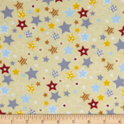Fox/Sheep/Bear Flannel Star Yellow Fabric