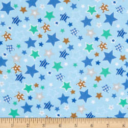 Fox/Sheep/Bear Flannel Star Blue Fabric