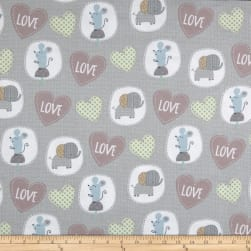 Elephant/Mouse Flannel Animals & Hearts Grey