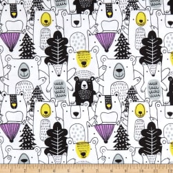 Bear Forest Flannel Allover White Fabric