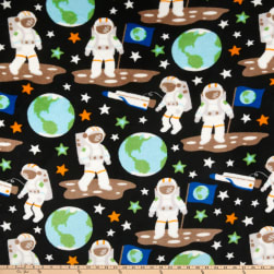 Plush Coral Fleece Outer Space Astronauts Multi Fabric