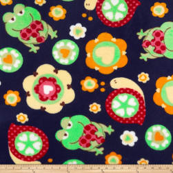 Plush Coral Fleece Friendly Frogs Navy Fabric
