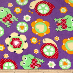 Plush Coral Fleece Friendly Frogs Purple Fabric