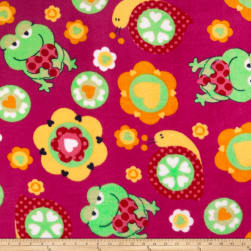 Plush Coral Fleece Friendly Frogs Fuchsia Fabric