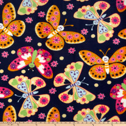 Plush Coral Fleece Playful Butterflies Navy Fabric