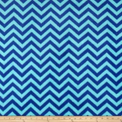 Plush Coral Fleece Chevron Turquoise Sapphire Fabric