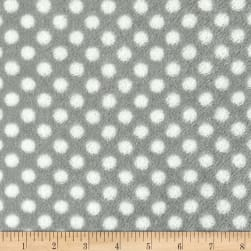 Plush Coral Fleece Polka Dots Stone White Fabric