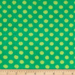 Plush Coral Fleece Polka Dots Emerald Jade Fabric