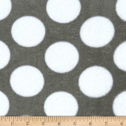 Plush Coral Fleece Grey Matters Polka Dots Grey Fabric