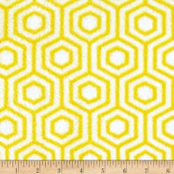 Plush Coral Fleece Honeycomb Yellow Fabric