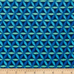 Plush Coral Fleece Lattice Blue Multi Fabric