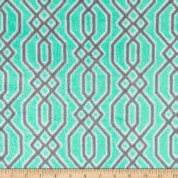 Plush Coral Fleece Fretwork Grey on Mint Fabric
