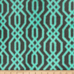 Plush Coral Fleece Fretwork Mint on Grey Fabric