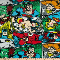 DC Comic Group Collage Fleece Multi Fabric
