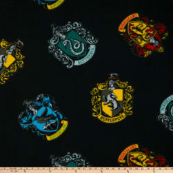 Harry Potter House Crests Tossed Fleece Black Fabric