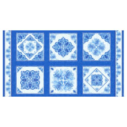 Henry Glass Blue Dream 24'' Decorative Tile Block Panel Blue Fabric