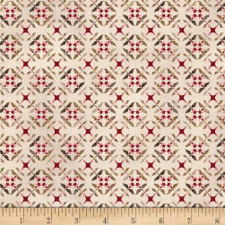 Henry Glass Tickled Pink Tile Flowers Cream Fabric