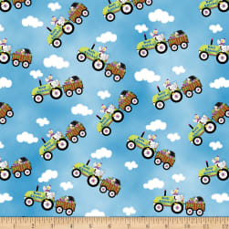Henry Glass Knit Chicks Tractor Allover Blue