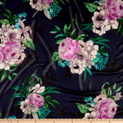 Floral Bunches Print Chiffon Navy/Green/Magenta Fabric