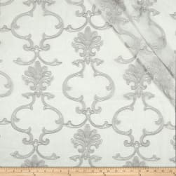 Eroica Althea Embroidered Sheer Silver Fabric