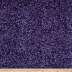 Clothworks Batik Menagerie Dog Toss Dark Purple Fabric