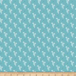 Riley Blake Cozy Christmas Candy Canes Blue Fabric