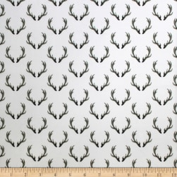 Winter Woods Antlers in White Fabric