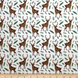 Winter Woods Oh Deer in White Fabric