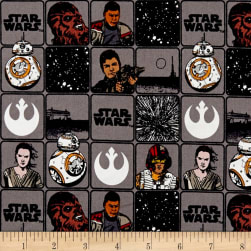 Star Wars Refresh Heroes in Squares Grey Fabric