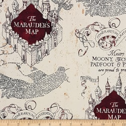 Wizarding World Stretch Jersey Knit Marauders Map Tan