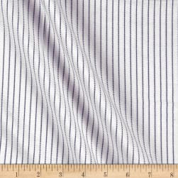Tencel Poly Challis Stripe White/Navy Fabric