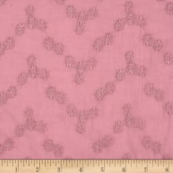 Cotton Dobby Small Flower Embroidery Pink