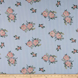 Telio Bloom Cotton Poplin Print Floral Stripe Blue Fabric