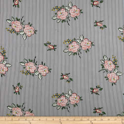 Telio Bloom Cotton Poplin Print Floral Stripe Navy Fabric