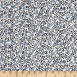 Liberty Fabrics Tana Lawn Deco Rose Gray/Blue