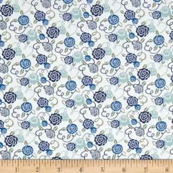 Liberty Fabrics Tana Lawn Ribbon Bloom Blue Fabric