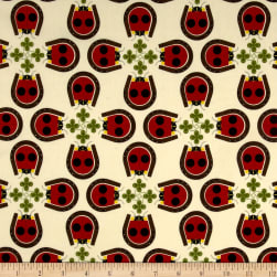Birch Organic Fabrics Backyard Lucky Ladybug Cream/Red Fabric