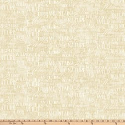 Autumn Woods Script Beige Fabric