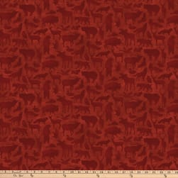 Autumn Woods Mini Animals Red Fabric