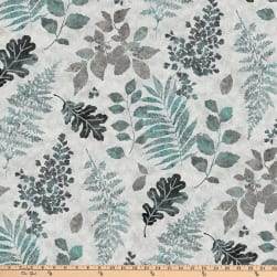 Shimmer Luminious Leaf Toss Metallic Gray Multi Fabric