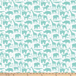 Safari Swank Animal solid Turquoise/White Fabric