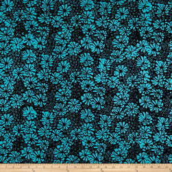Banyan Batiks Visual Sounds Flowers Blue Fabric