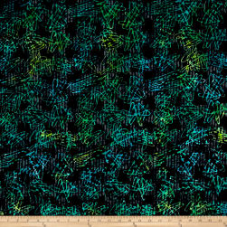 Banyan Batiks Visual Sounds Scratches Black/Blue Fabric