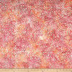 Banyan Batiks Visual Sounds Wavy Squares Orange/Pink Fabric
