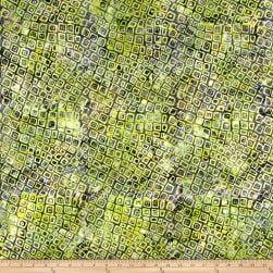 Banyan Batiks Visual Sounds Wavy Squares Green/Black Fabric