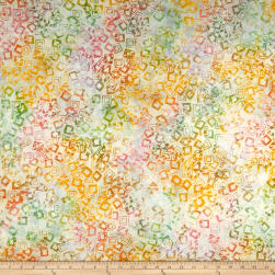Banyan Batiks Visual Sounds Tossed Squares Pastel/White Fabric